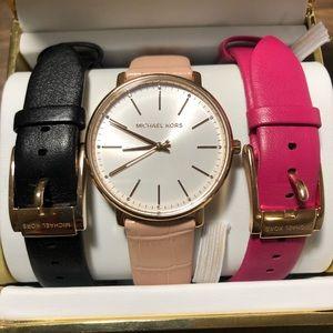 Michael Kors Pyper Leather Watch Set